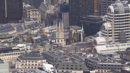 Aerial view above buildings in the city of London