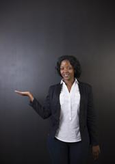South African or African American woman teacher on blackboard