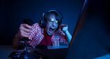 Emotional kid play video game - 80497712
