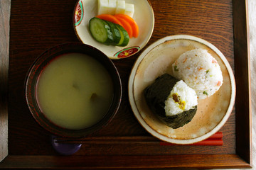 Rice balls and rice bran pickles and miso soup