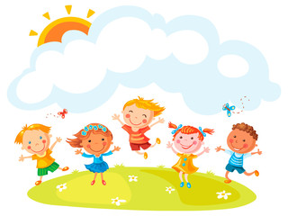 Happy Cartoon Kids Jumping
