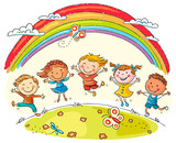 Kids Jumping with Joy under Rainbow