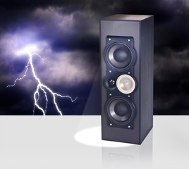Loud speaker against night sky with thunderbolt