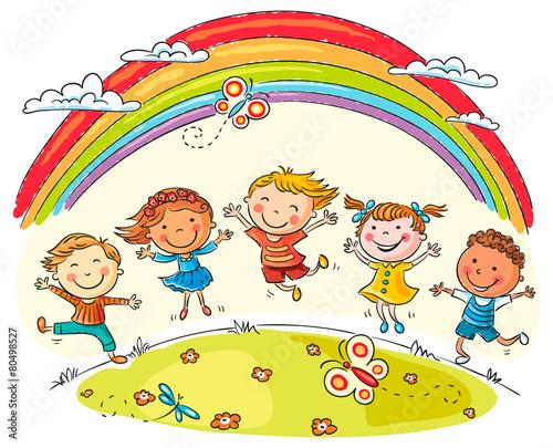 fototapeta na ścianę Dzieci skacze z radością w Rainbow