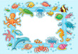 Frame with Sea Animals - 80498721