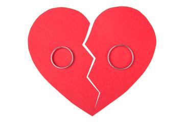 wedding rings on red broken heart isolated on white