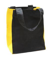 black any yellow cotton eco bag on white background