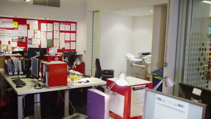 Interior view of empty office space. No people.