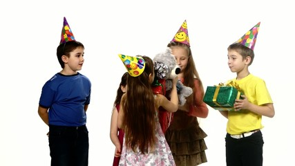 Happy birthday girl gets gifts from their friends. There are so