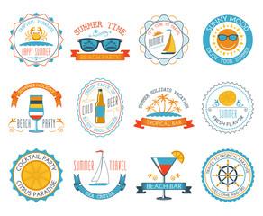 Summer vacation emblems stickers set flat