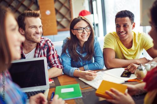 Leinwandbild Motiv Smiling students