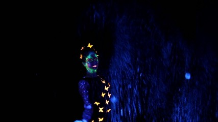 Woman with luminous make up and two big bubbles