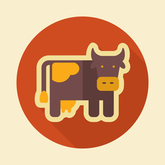 Cow retro flat icon with long shadow