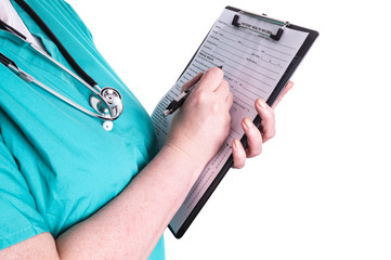 Female doctor ready to write patient information