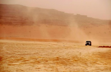 car of tourists in search of adventures in the desert