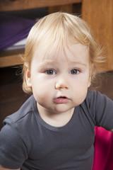 portrait of baby grey shirt