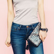 Girl with clutch Casual style.Stylish Accessories