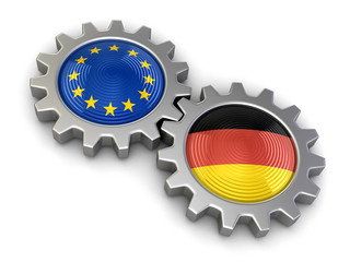 German and European union flags on a gears