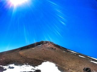 Top of mount Teide with sunbeams