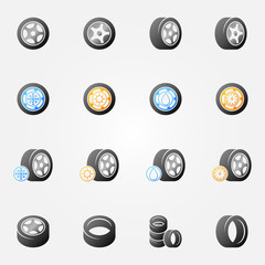 Tire and wheels vector icons set