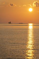 golden sunset in maldives