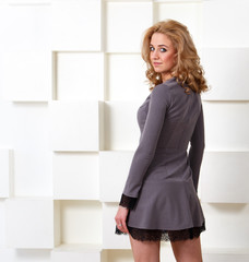 Stylish gray dress on blond model
