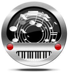 Music Icon - Piano Keyboard and Notes