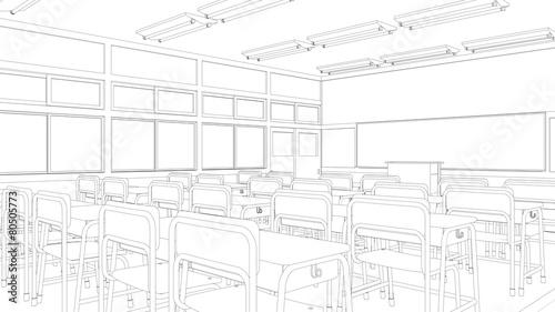 Leinwandbild Motiv 教室の線画