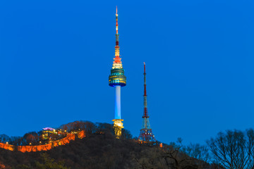 Seoul tower at night in Seoul,South Korea