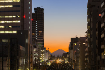 Tokyo cityscape and Mountain fuji at twilight..