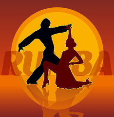 Silhouettes of couple dancing latin dance