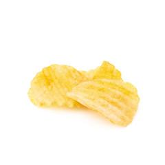 Three ribbed potatoe chips isolated