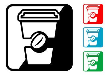 Icono simbolo vaso de cafe en varios colores.