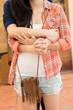 Hugging lesbian couple