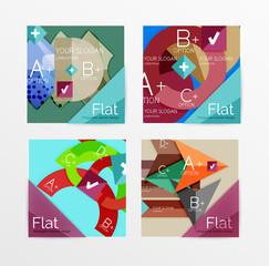 Flat design square shape infographic banner