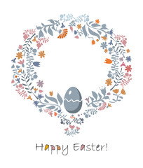 Easter card with spring flowers and easter egg