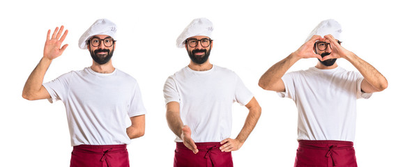 Chef making a deal over white background