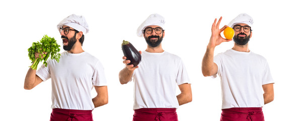 Chef holding an aubergine