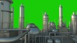 Oil refinery complex on green background