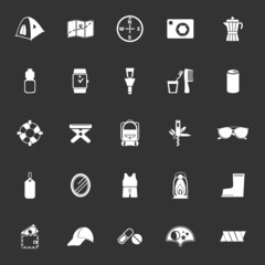 Camping necessary icons on gray background