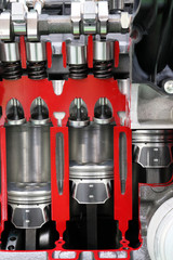 pistons and valves car engine detail