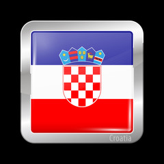 Flag of Croatia. Metal Icons