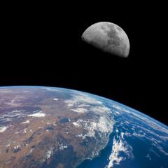 East coast of Australia (Newcastle-Brisbane) with Moon above.