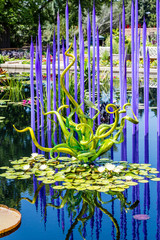 Purple and Green Glass Over Lilly Pads