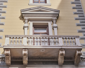 Athens, Greece, neoclassical building balcony