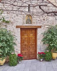 Athens, Greece, Panaghia Chrysospiliotisa old church entrance