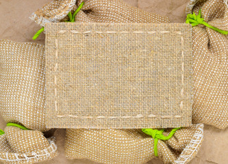 coarse burlap textured with space for text