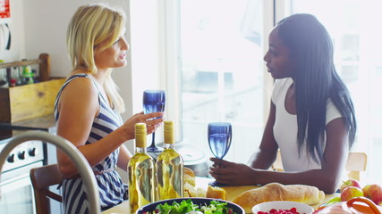 Young female friends drinking wine together and having a conversation
