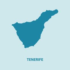 Teneriffa Map Vector Very Detailed