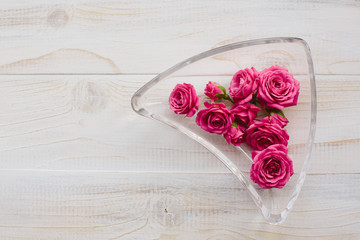 Pink roses in glass plate